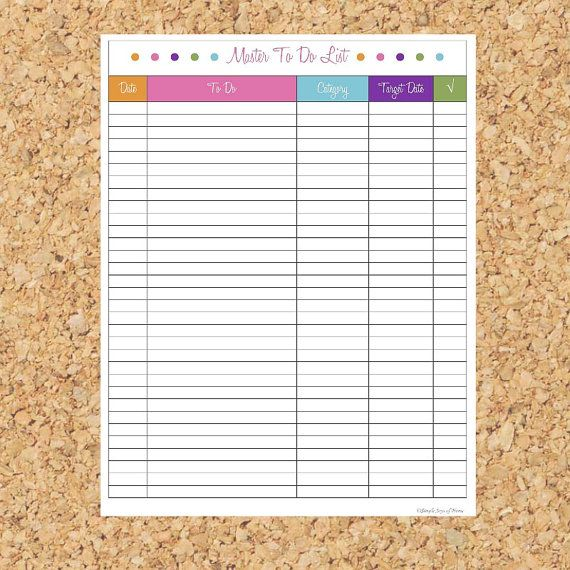 Master To Do List - Printable PDF - Instant Download on Etsy, $335