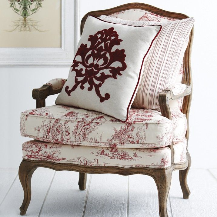 French Toile Red Armchair - A classic french design from ...
