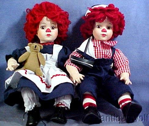 Knickerbocker Co Raggedy Ann Andy Dolls Porcelain with Cloth Bodies