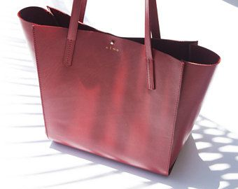 Red Leather Tote Bag, Carryall Leather Bag, Medium Leather Shoulder Bag, Everyday Leather Bag, Red Leather Purse, Red Leather Shopper, Olmo
