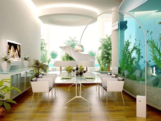 Aquarium Haus Wand Weiße Möbel Essbereich