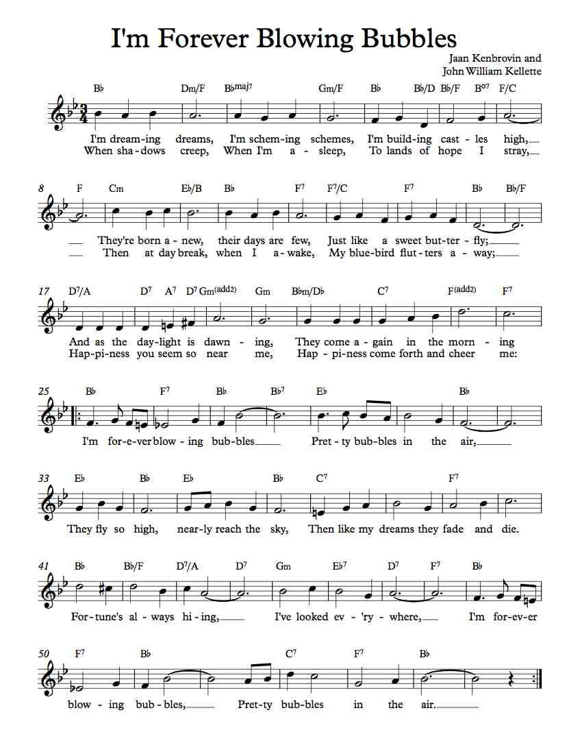 free lead sheet – i'm forever blowing bubbles | blowing bubbles, lead sheet,  piano music easy  pinterest