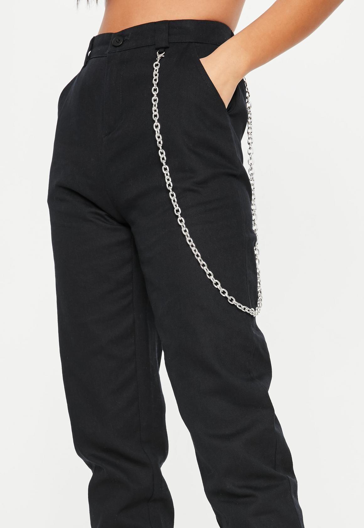 416ab564236b2 Black Chain Detail Cargo Pants