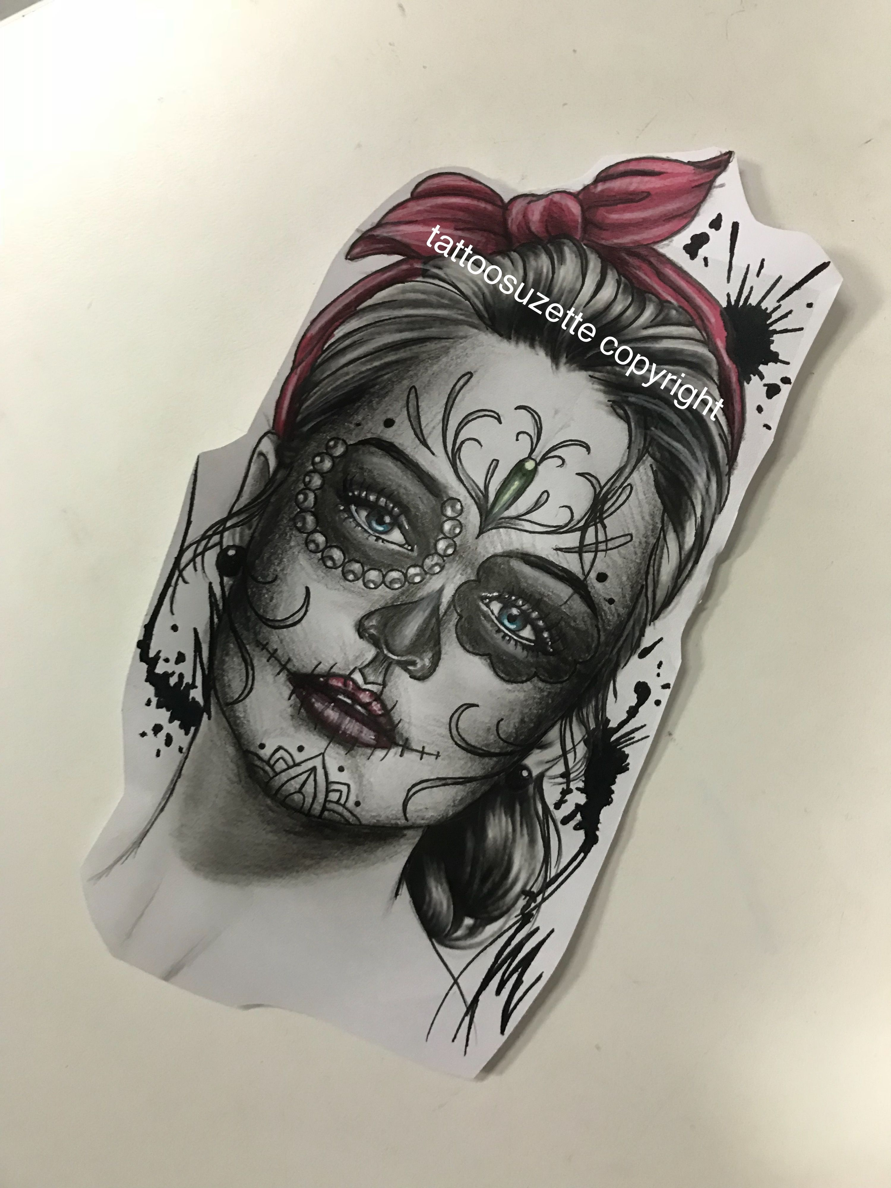 catrina tattoo design sugar skull pinterest tattoo designs and tattoo. Black Bedroom Furniture Sets. Home Design Ideas