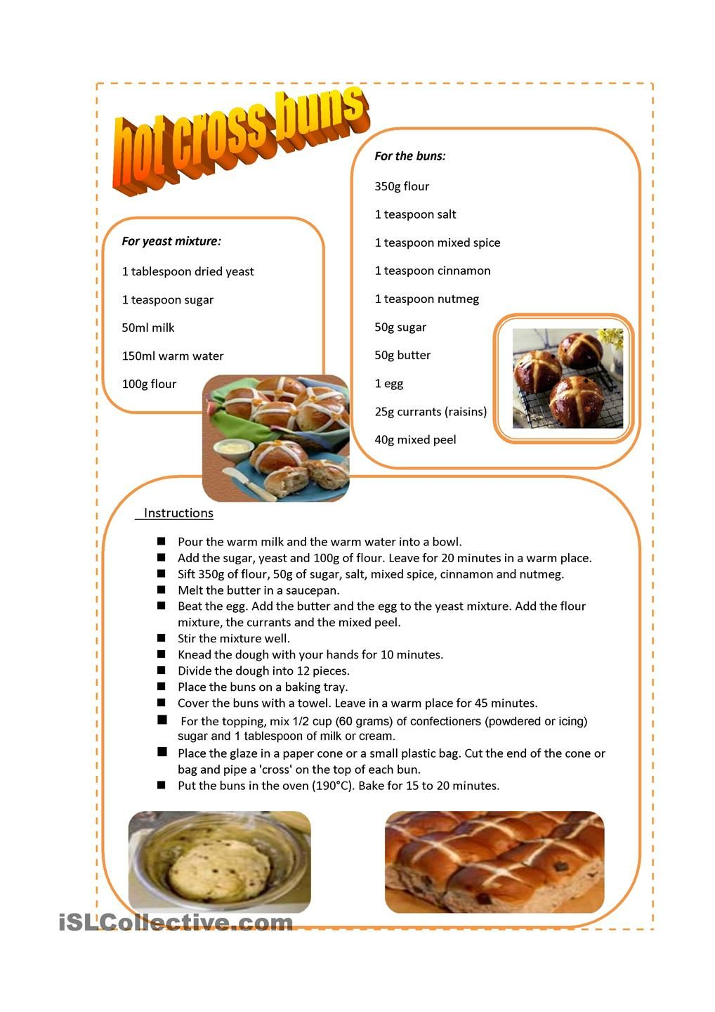 Breads from around the world google search breads pinterest hot cross buns recipe worksheet free esl printable worksheets made by teachers forumfinder Images