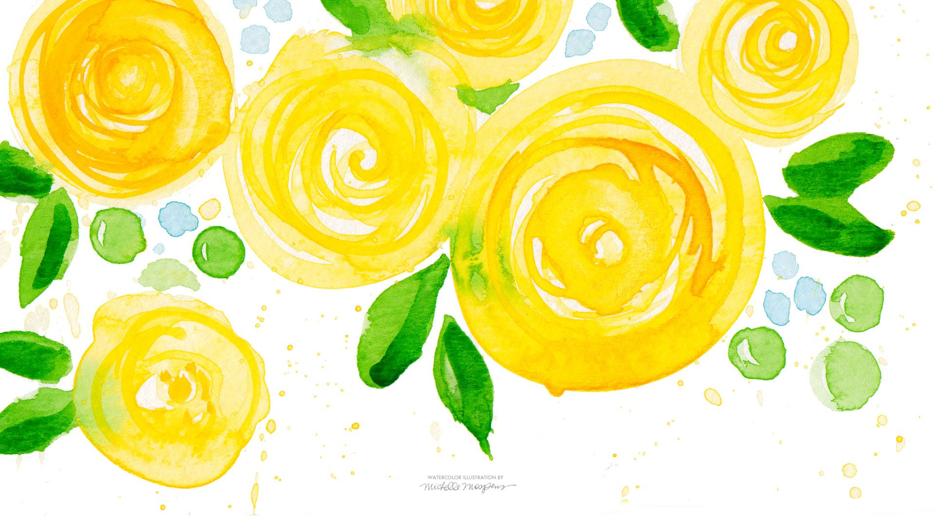 Wallpaper download mood off - Yellow Watercolor Flowers Wallpaper Download A Watercolor Life