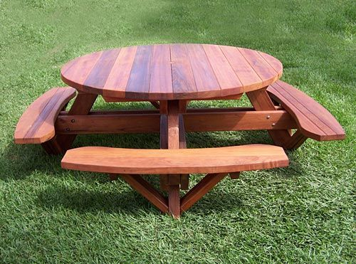 Arts And Crafts Style Shelves Wooden Picnic Tables Round Picnic