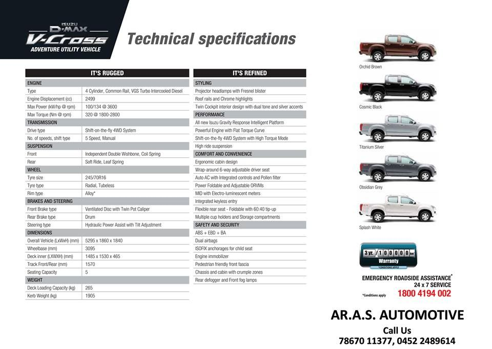 Technical Specifications Of D Max V Cross Adventure Utility Vehicle Contact Us For Test Drives At 78670 11377 0452 Utility Vehicles Driving Test Adventure