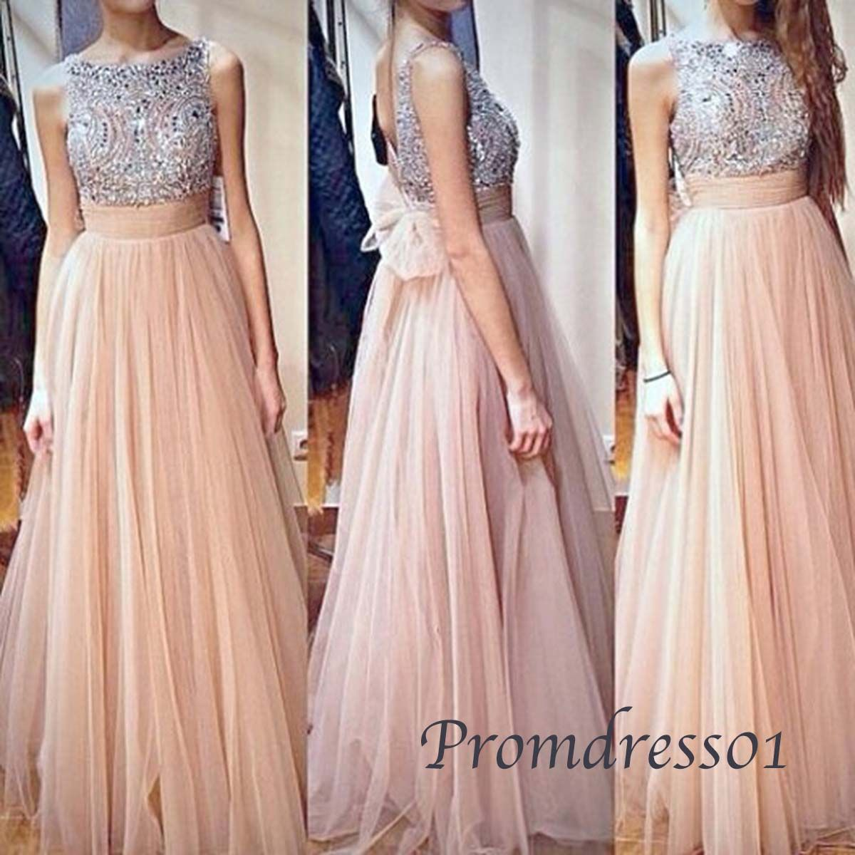 elegant round neck sequins vintage chiffon long prom dress with