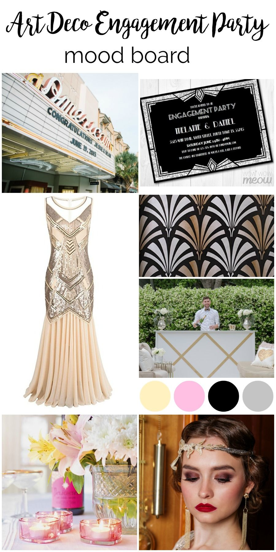 Mood Board Art Deco Vintage Engagement Party