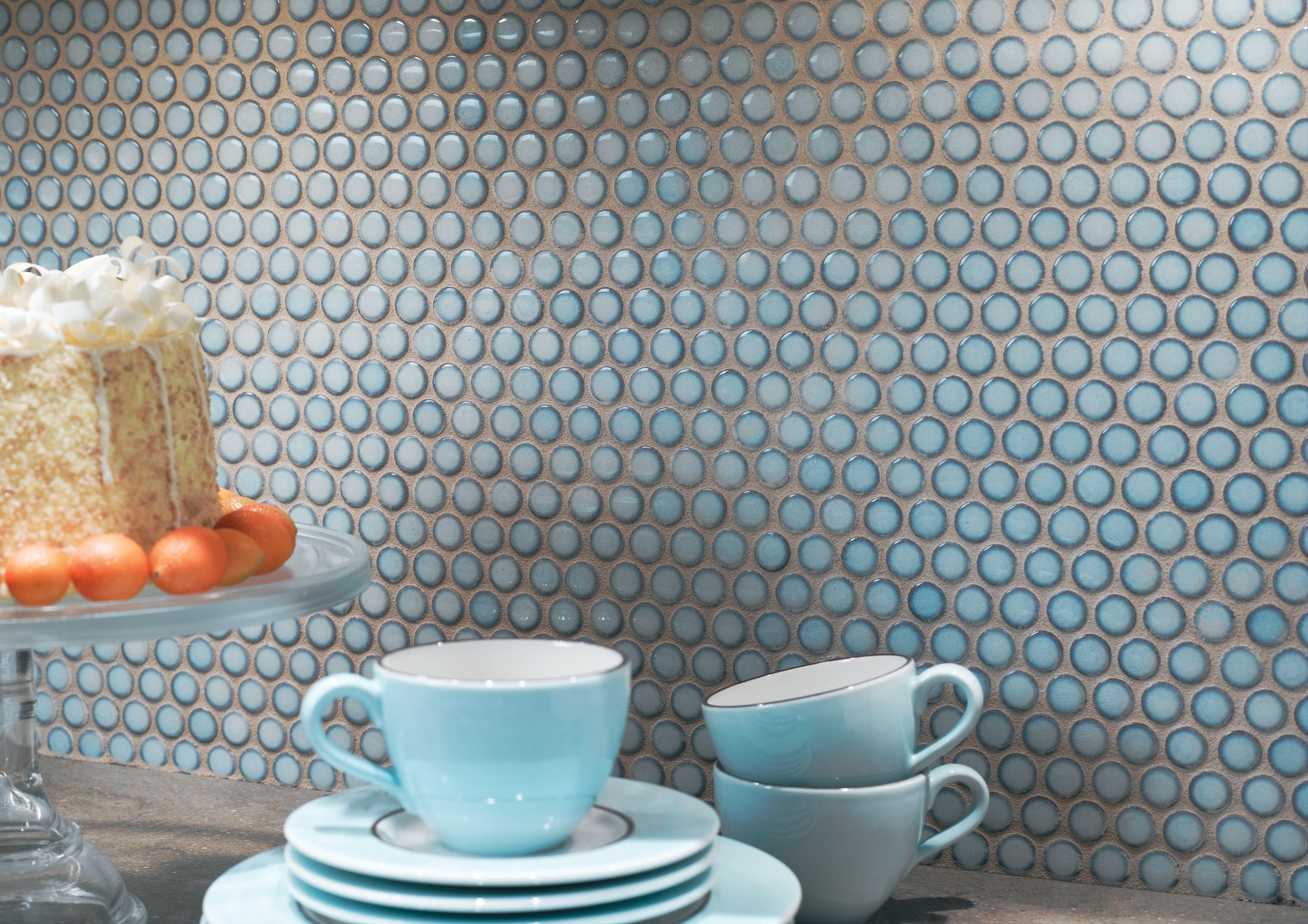 Ann Sacks Savoy Penny Round Ceramic Mosaic In Cornflower