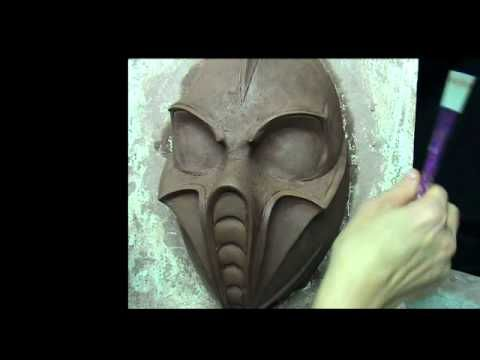 Mask making. Mask of DJ HEX . Sculpting mask in clay.