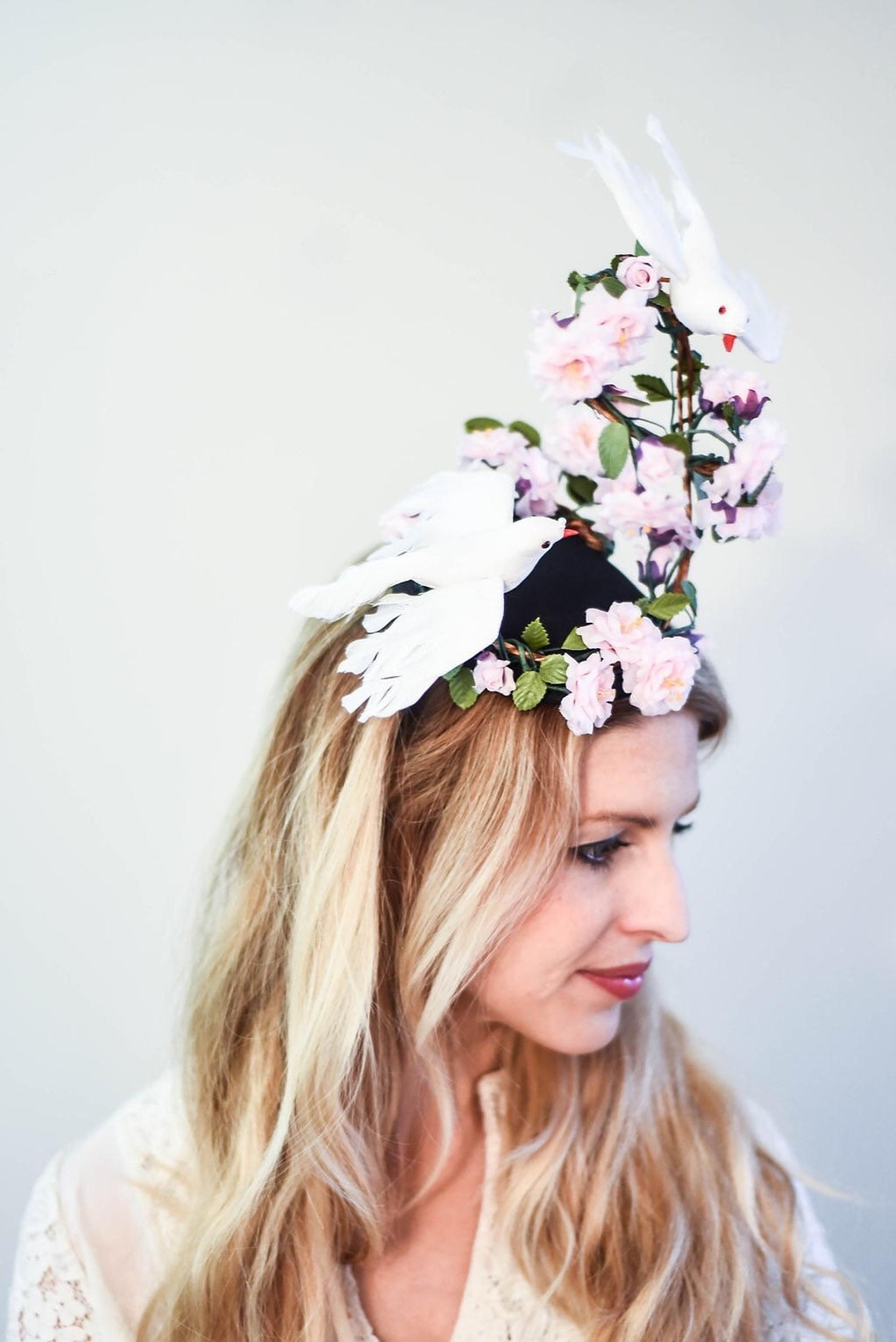 "Wedding Rose Fascinator Tea Party 12/"" White Rose Halloween Kentucky Derby"