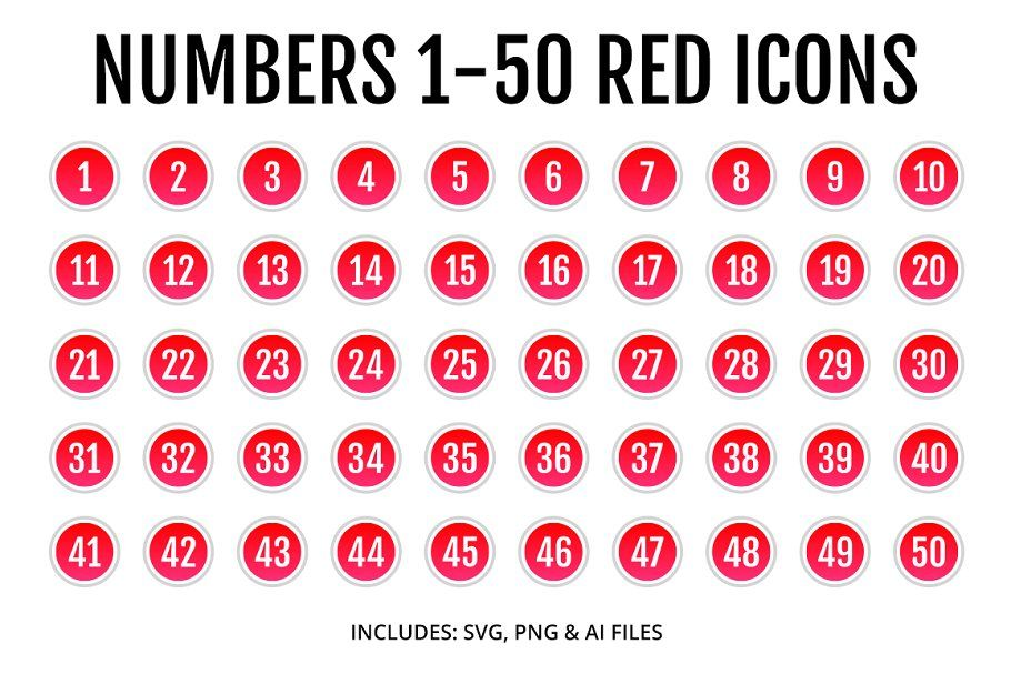 Numbers 1 50 Red Icons Style 2 Text Message Icon Technology Icon Icon