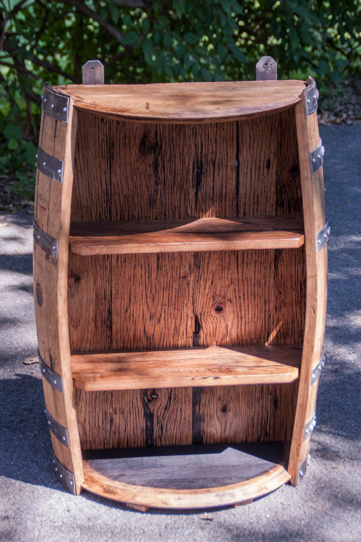 Bourbon Barrel And Reclaimed Barn Wood Shelf By Dandshandmadecrafts On Etsy Https Www Etsy Com Bourbon Barrel Furniture Reclaimed Barn Wood Barrel Furniture