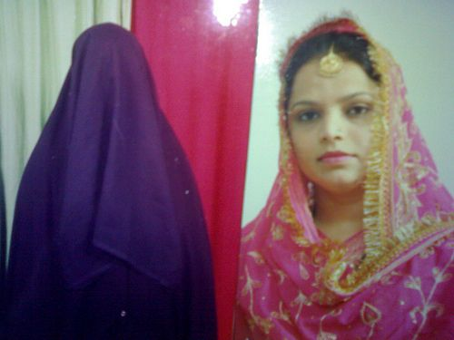A bride with & without burqa