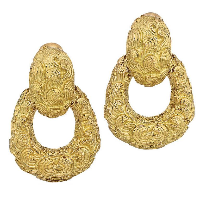 10k Yellow Gold Octagon Door Knocker Hoop Earrings Description Material Genuine 10k Yellow Gold Option 1 20 0mm 0 8 D Round Earrings Gold Yellow Gold