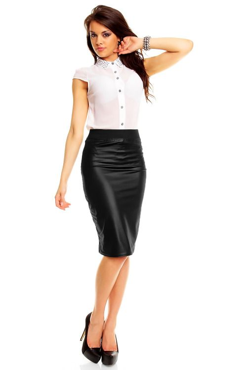 aaf36178ea sexyinleather: Elegant Black Stretch Wet Look Pencil Skirt ♥ Office  Secretary Style ♥
