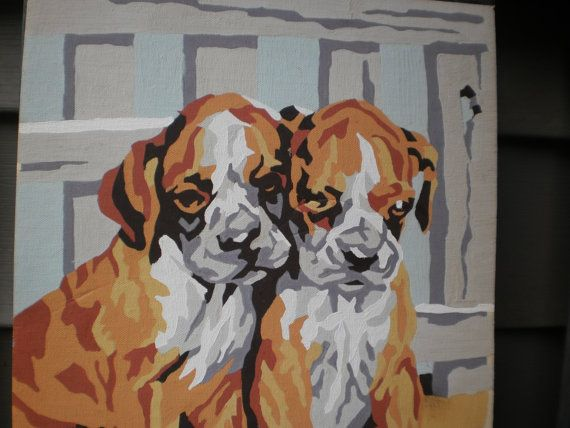 Vintage Paint By Number Picture Dog Painting Pair Of Boxers