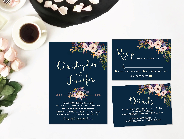 Wedding Invitation Navy, Wedding Invitation Template, Wedding ...