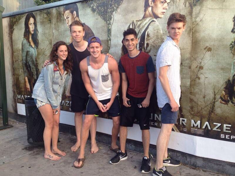 Photo from Kaya Scodelario of herself, Will Poulter, Chris Sheffield, Alex Flores, & Thomas Brodie-Sangster from The Maze Runner