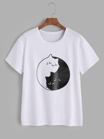 0c0463d576 Camiseta estampada de gatos