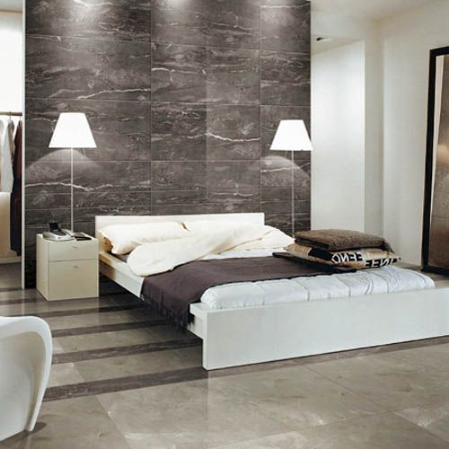 Dark Silver Marble Effect Tiles Have Been Used On The Wall Of This Modern  Bedroom And Look Great. #marble #effect #tiles