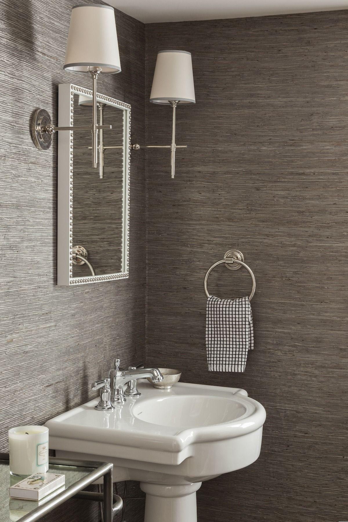 charcoal grasscloth wallpaper + chrome sconces | Bathrooms | Bathroom wallpaper, Powder room ...