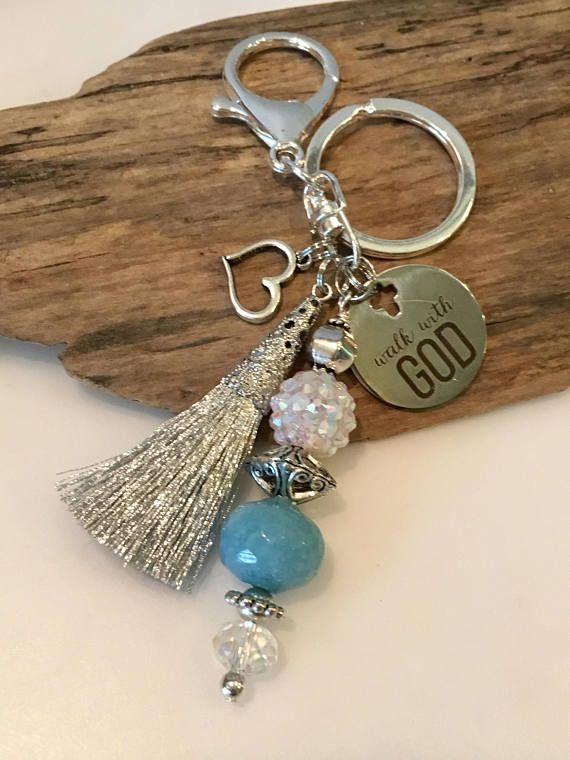 precios increibles estilo moderno en pies imágenes de Llavero llavero de abalorios llaveros boho azul y plata ...