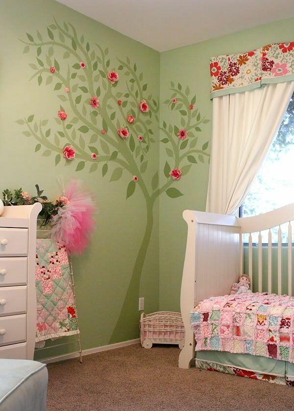 Décoration pour la chambre de bébé fille | Chambres vertes, Bébé ...