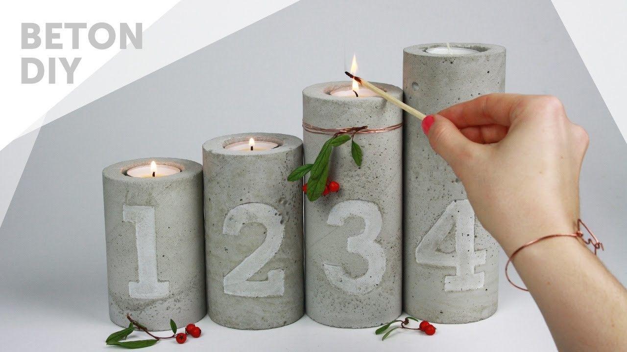 Photo of DIY.Beton Adventskranz   Kerzenständer mit Zahlen Prägung   concrete candle holders with embossing