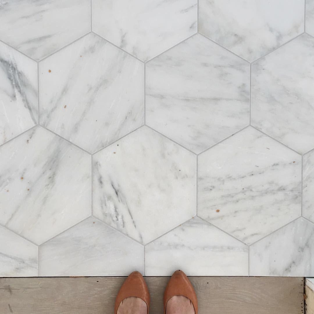 large marble hexagon tile kate mark