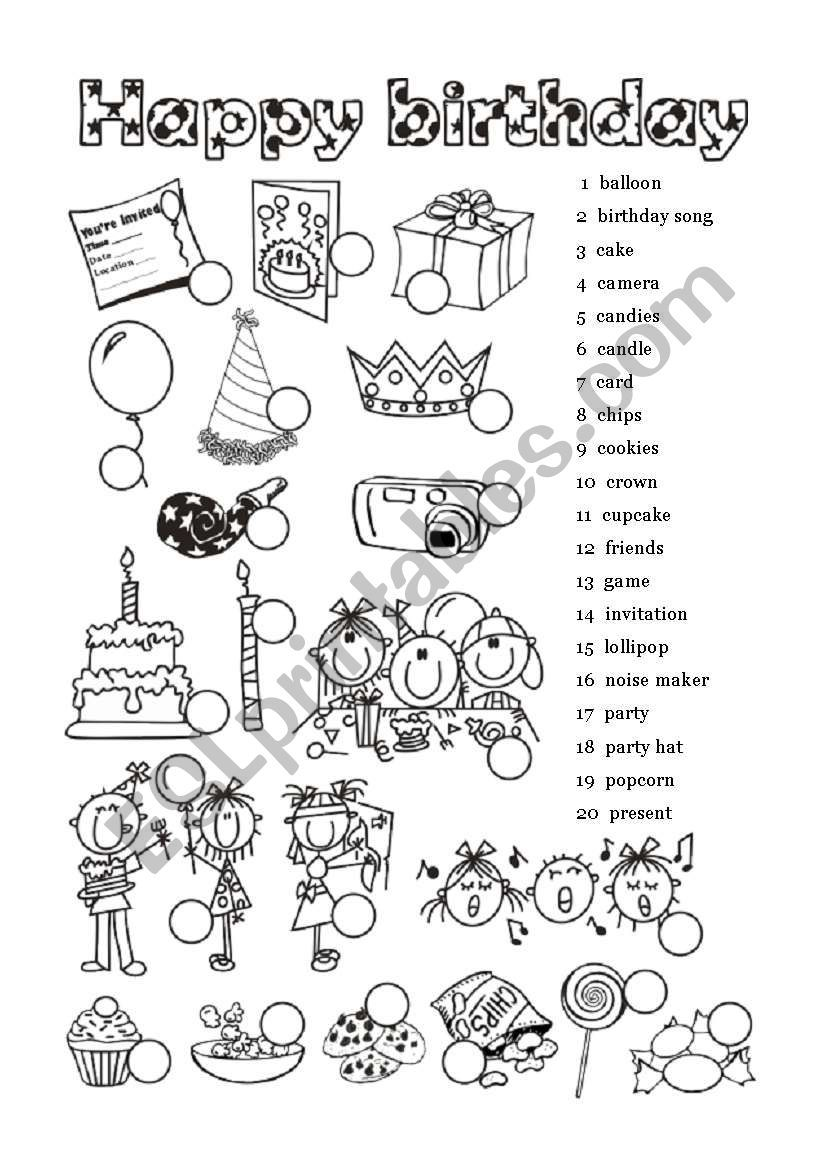 happy birthday 1 of 6 worksheet proyecto de ingles ingles ni os y pedagogia. Black Bedroom Furniture Sets. Home Design Ideas
