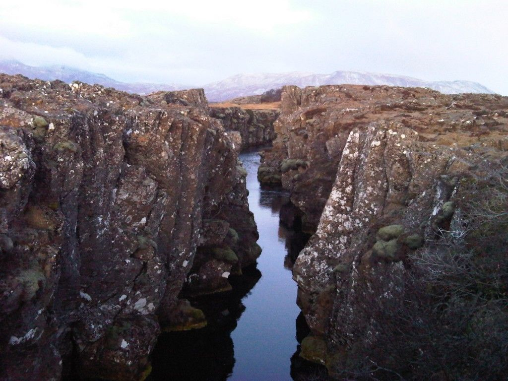 The mid atlantic ridge. Where The North American and European tectonic plates meet. Don't fall down there, the earth's core might eat you. nbd.