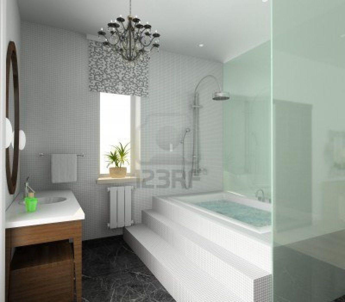Moderne Innenausstattung 3d Render Badezimmer Exklusives Design Badezimmer Renovieren Moderne Dusche Moderne Badewannen