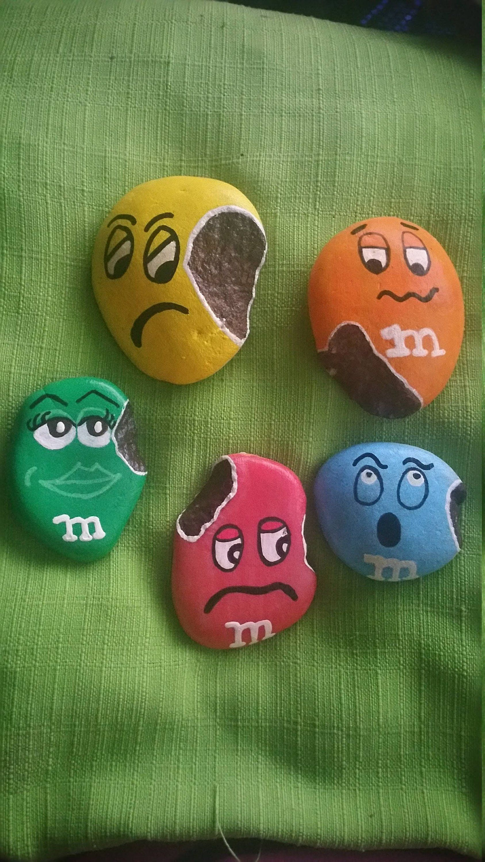 Photo of M&M Pals Painted Rocks, Rock Buddies, Home Decor, Art, Collectible, Painted Rock, Painted Stone, Candy Painted Rock, Play Kithen Food