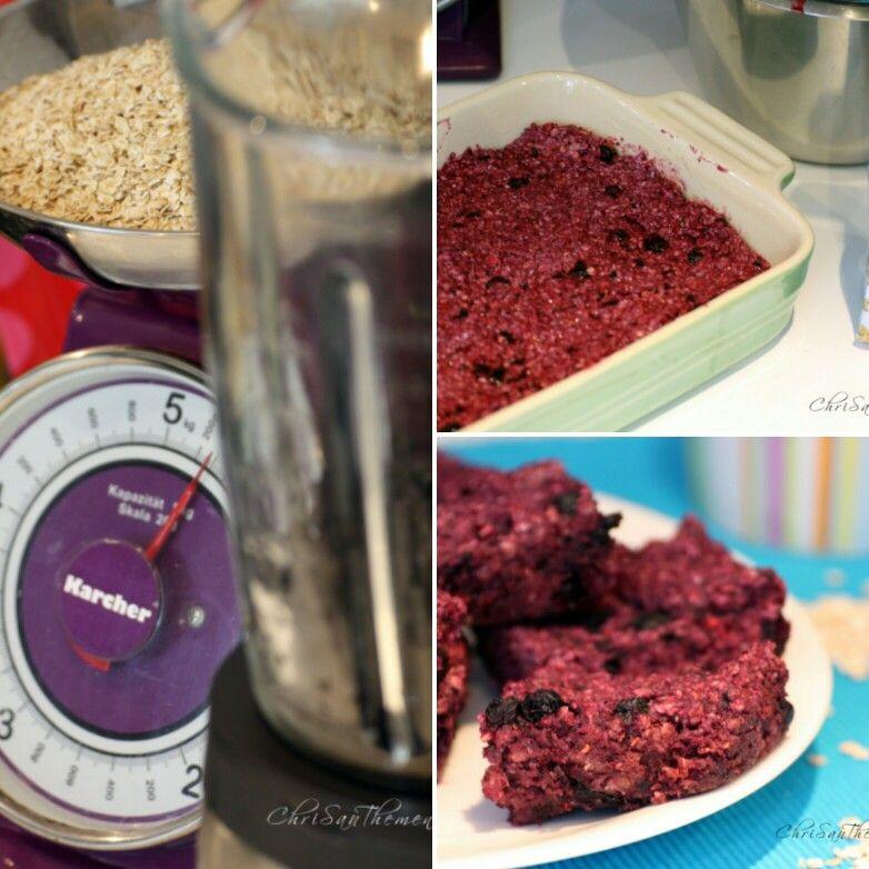 Blaubeer-Porridge-Ecken vegan