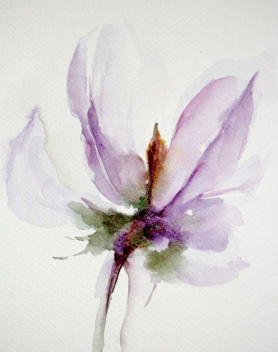 Peinture aquarelle originale de fleur de lavande par - Peinture couleur lavande ...