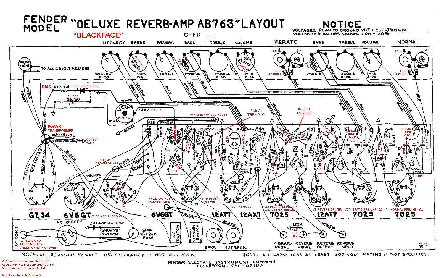 Fender Deluxe Reverb Ab763 Tube Guitar Amplifier Annotated Layout By Audio Circuits July 2009 Circuit Equalizer Mixer Robrobinettecom