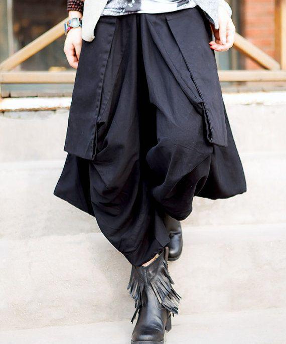 women cotton Wide leg pants/ asymmetric Large pocket women ...
