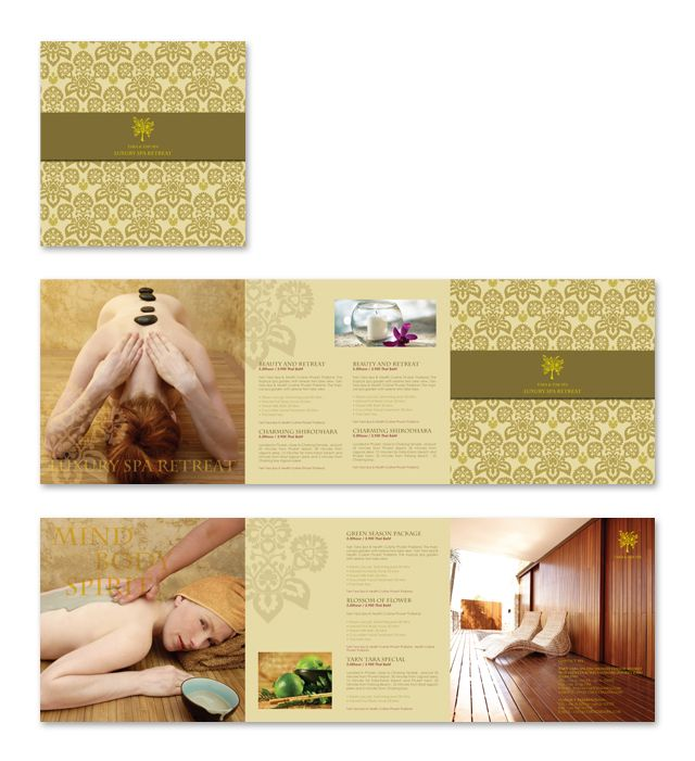 Natural Day Spa & Massage Brochure Template | Spa Ideas