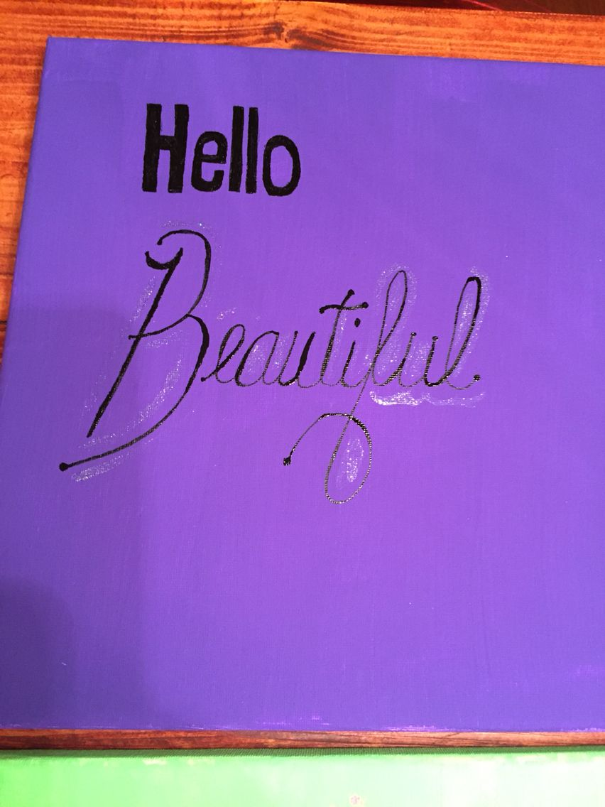 Hello Beautiful canvas painting teen daughter's room