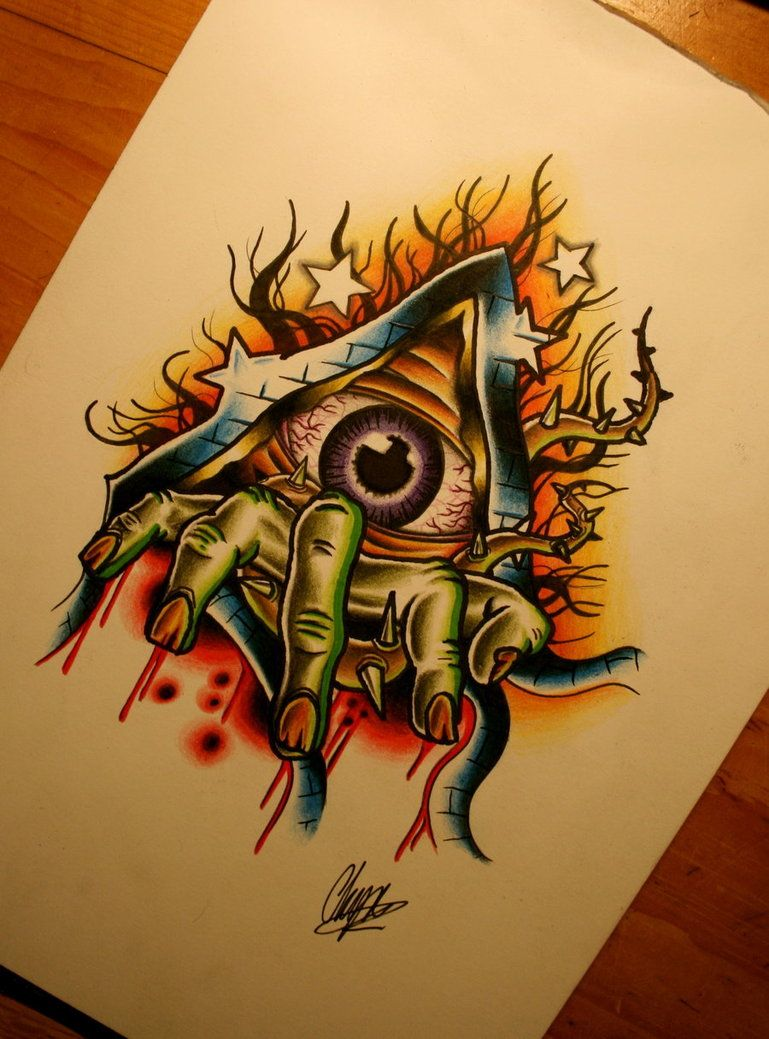 New school tattoo design - Broken Hourglass Tattoo Design Broken Eye By Itchysack