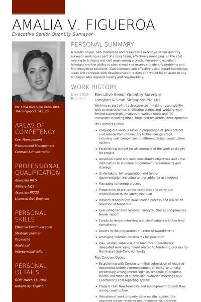 resume template for quantity surveyor