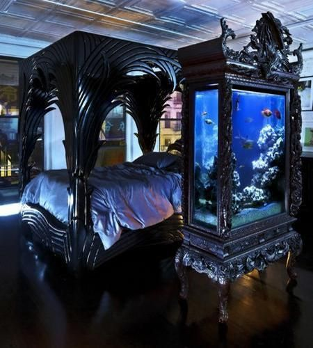 Bedroom design with bed and aquarium in black color and Gothic style. 35 Unusual Aquariums and Custom Tropical Fish Tanks for Unique