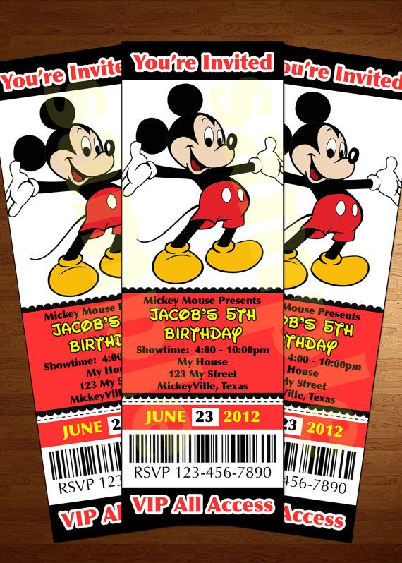 Mickey Mouse ticket invitation printable diy invite RED customized