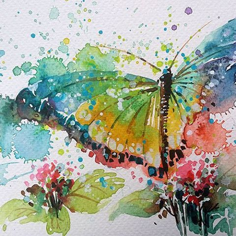 Butterfly 2 Original Painting By Tilen Ti Watercolour With
