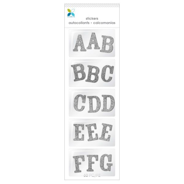 Sticko  Alphabet Stickers-Sweetheart Script Small Glitter Gold 6Pk