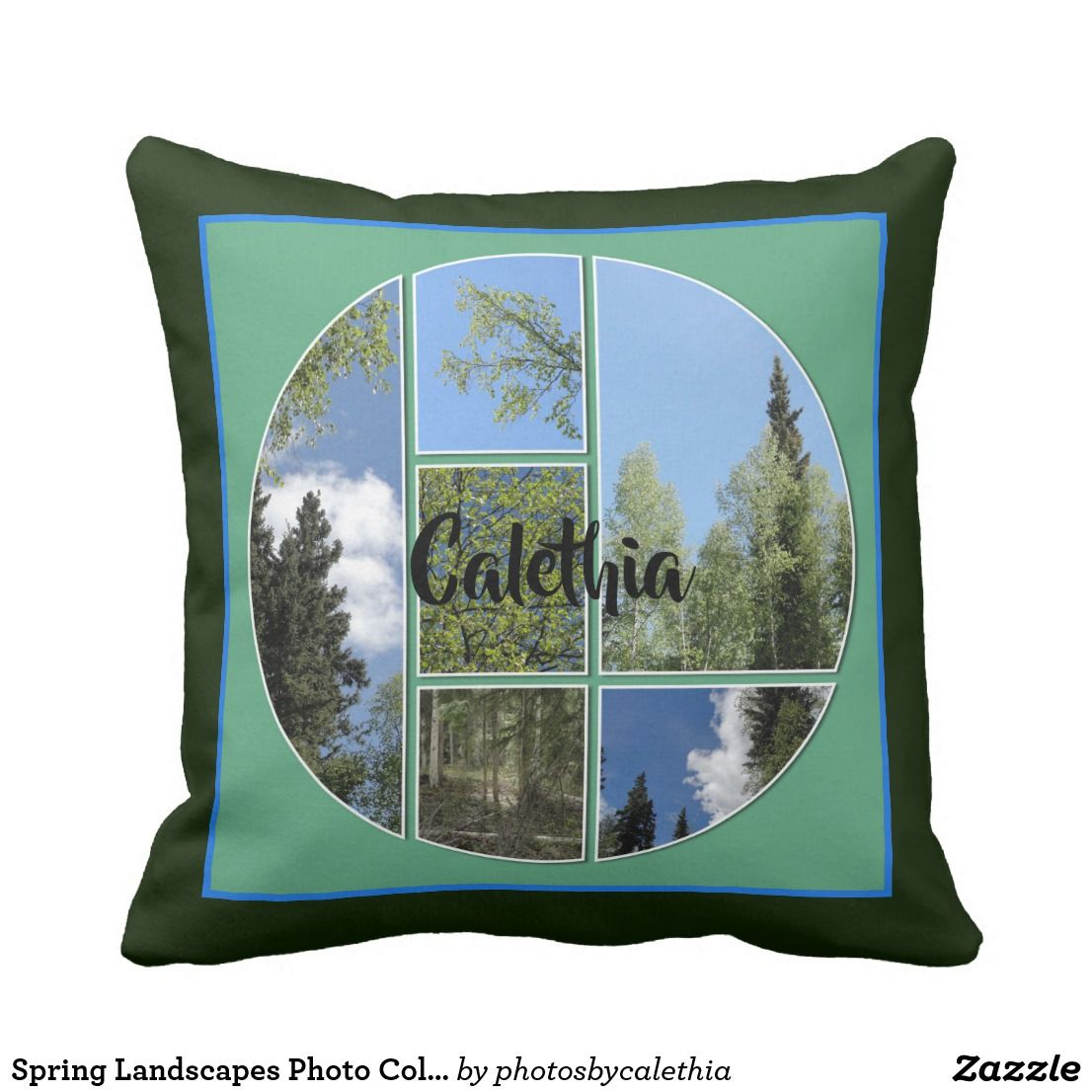Spring Landscapes Photo Collage Personalize Throw Pillow Zazzle Com Throw Pillows Personalized Throw Pillow Pillows