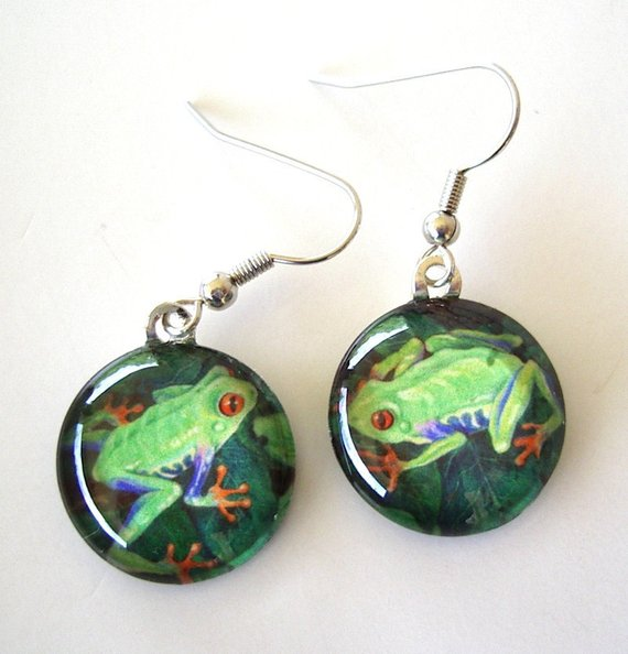 Frog in a Moonlit Pond Handmade Jewelry Art Pendant